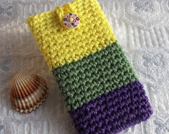 handmade crochet phone case cellphone sleeve iphone 7 samsung S7 LG xperia SP galaxy alpha crochet phone cover