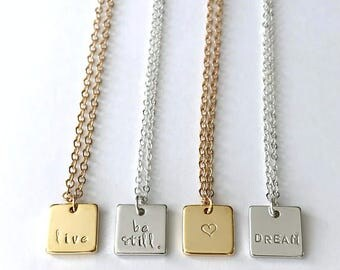 Customized Necklace, Initial Pendant, Personalized Necklace, Date Necklace, Bridesmaid Necklace, Square Necklace, Dainty Layered