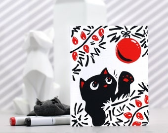 Cat Christmas Card A6 Holiday Greeting Card Kitty Lover