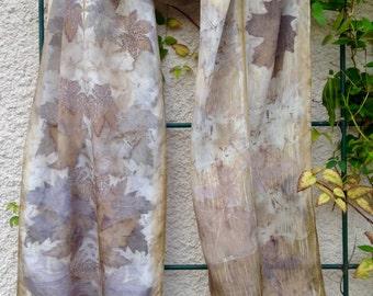 Eco Print Silk Scarf / Natural Dyes / Botanical Print