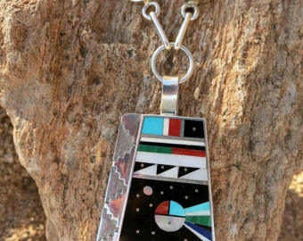 """ZUNI INLAY NECKLACE by Harold Smith, 22"""" Long, 51 Grams, Sterling"""