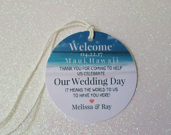 "BEACH Wedding Favor Tag *Destination Wedding Tag *Beach Welcome Tag *Thank You Wedding Tags *Beach Tags  *Circle Tag 2.25"" *PERSONALIZED"