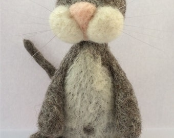 Grey cat needle felt kit ( starter kit )