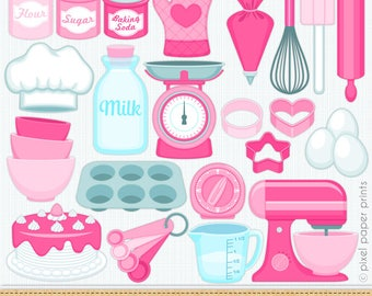 Baking Clipart Pink - Kitchen Digital Clip Art - Personal and commercial use