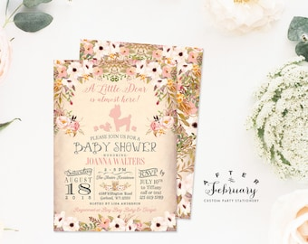 Woodland Baby Shower Invitation, Floral Deer Baby Shower Invite, Animal Deer Baby Shower Invitation Girl , Printable OR Printed No.1096BABY