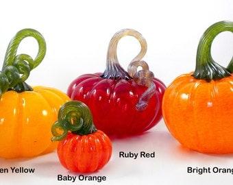 Glass Pumpkins- hand sculpted glass pumpkin, gourd, fall decor, organic, lifelike, nature sculpture, transparent red, great 1 of a kind gift
