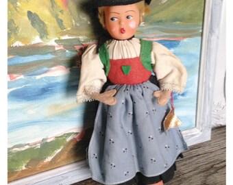 Vintage souvenir doll, collectible doll, Austrian costume Helga Doll, folk art doll, European Souvenir Doll