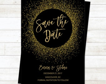Black Gold Save the Date Card, Save the Date Printable, Gold Glitter Printable Save the Date Wedding