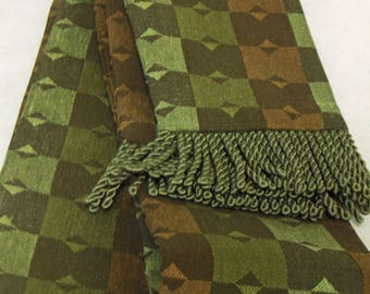 Olive, Rust and Brown, Check Fabric w/Olive Green Fringe for Pirate, Ren Faire, Cosplay