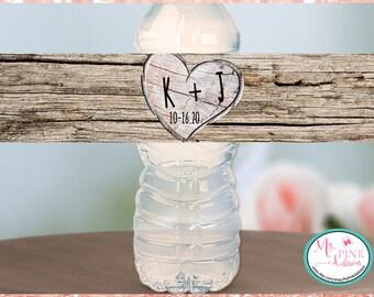 Rustic Wood Initials Personalized Wedding Water Bottle Labels -Bachelorette favors-Wedding favor-Custom labels-- Waterproof Labels
