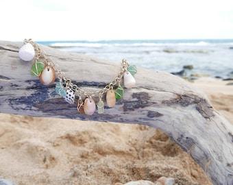 14kt gold filled Maui shell and seaglass charm bracelet (chunky)