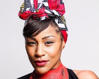 African Wax Print head wrap   Ankara Wax print Headscarf   Print headscarf   African Ankara wax print material   Turban Wrap   Print 2