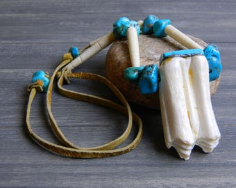 Vintage Buffalo Tooth & Turquoise Necklace