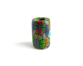Tropical Intricate Mixed Millefiori Design Dread Bead, 5mm hole size (extra small), Polymer Clay, The Dread Bead Shop