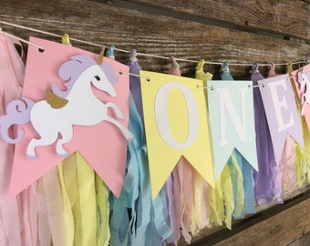 ONE Unicorn Party High Chair Banner - Unicorn Party, First Birthday, Rainbow Party, Photo Prop, Birthday Party