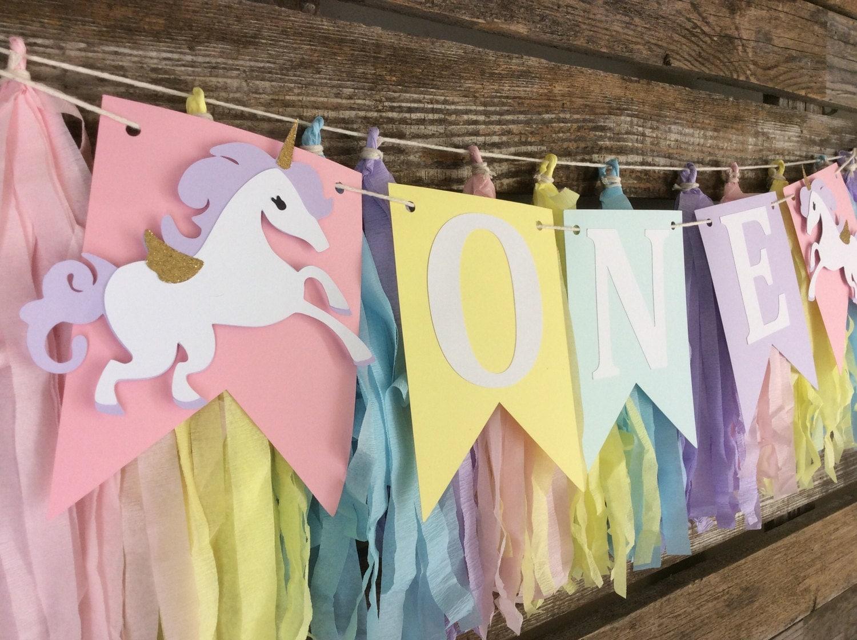 Unicorn Birthday Banner: ONE Unicorn Banner Unicorn Party Unicorn High Chair Banner