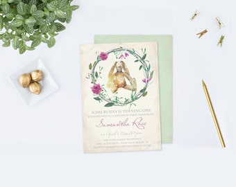 Bunny Birthday Invitation, PDF Editable Invite Template, Acrobat, Some Bunny Invite Girl First Birthday, Easter Birthday, Rabbit, Printable