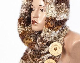 Ready to ship - Hooded Scarf, Scarf Hood, Chunky scarf, Wool cowl by LoveKnittings