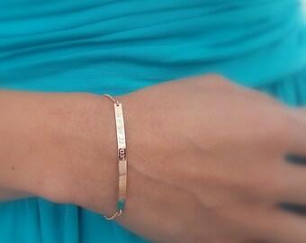 Latitude Longitude Bracelet - GPS Coordinates Bracelet - Location Bracelet - Custom Engraved Bracelet - Rose Gold Dainty Coordinate Bracelet