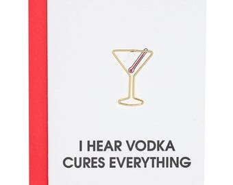 Funny. Vodka Cures Everything. Letterpress Card