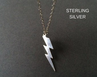 Lightning Bolt Necklace, Silver Lightning  Necklace, Sterling Silver Necklace, Birthday Gift
