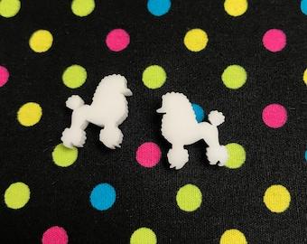 Little White Poodle Stud Earrings