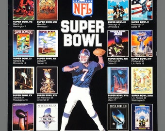 Vintage Super Bowl 1967 - 1991 Poster NFL Football Championship Sports Vintage 17 x 26