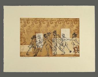 "Vintage Aquatint Etching Kathy Halper ""Dance, Dance"" Print Signed 4/8"