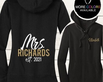 Mrs. Lightweight Juniors Jersey Full-Zip Hoodie, Mrs. Hoodie, Bride Jacket, Future Mrs., Soon to Be Mrs. | #1085