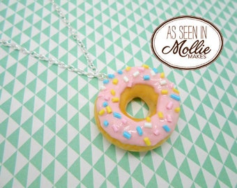 Kawaii Pink Glazed Donut and Sprinkles Necklace
