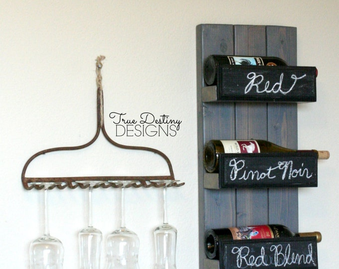 4 bottle wall hanging wine rack holder - antique, country, cottage, rustic, chic, cabin, chalkboard, home decor, barn wood, TDD9-4