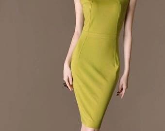Casual bridesmaid dress, stylish neckline, Sheath summer dress, made to measure clothing, Plus size dress, Chieflady CB227