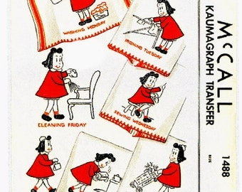 Vintage Little Lulu Days of the Week Embroidery Applique Pattern PDF Instant Download