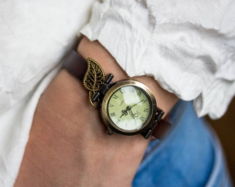 Woman Watch bronze wrist watch roman numerals, genuine leather, bead watch, bracelet watch real leather, vintage antique bronze watch
