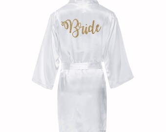 Satin Bridal Robe with gold glitter, Satin Bride Robe, White satin bride robe, gold glitter bride robe, wedding day robe, bridal kimono robe
