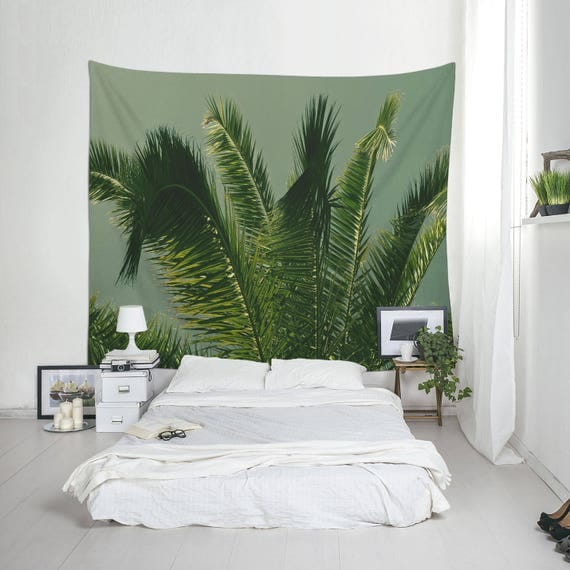 Tropical Leaf Print, Wall Tapestry, Tropical Decor, Large Tapestry, Room Decoration, Palm Leaves