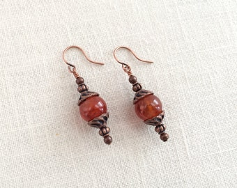 Amber earrings. Agate bead drops, copper earrings. Amber dangle earrings. Orange earrings. Agate gemstone dangle earings. Antique copper.