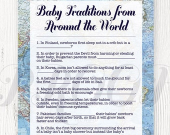 Baby Traditions Around the World Shower Game Printable, Baby Shower Games, Baby Traditions, Welcome to the World Shower, Around the World