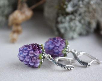 Lampwork Blackberry earrings, Lampwork Earrings, Berry Lampwork Earrings, Blackberry Glass earrings, Glass Earrings, Berries jewelry