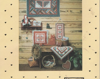 Country Thread Log Cabin Hearts Quilting Pattern  Wallhanging  and Pillow