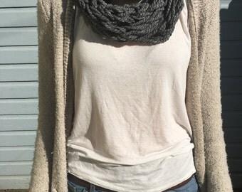 Grey Arm Knit Infinity Scarf