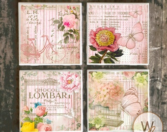 Shabby Chic Coasters,  Set of 4, Pink Yellow French Market Style on Ceramic Tile Coasters, Handmade Floral Designs, Hot and Cold Drinks