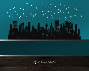 City Decal Skyline Wall Decal Buildings Decal Skyscraper Decal City Wall Decal Skyline Decal Downtown Decal Metropolis Decal Metro Decal