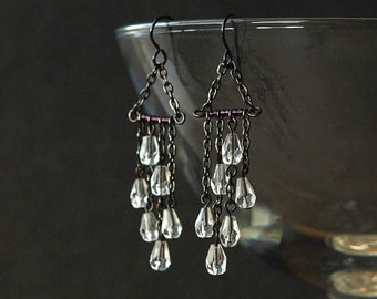 rain chain earrings, rain drop earrings, rain earrings, CLOUDBURST, hypoallergenic niobium earwires