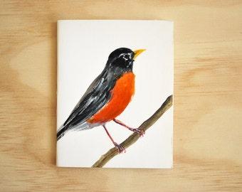 American Robin notebook / Handmade sketchbook, with original painting
