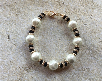 Black and White Glass Faux Pearl Bracelet, Bracelet, Beaded Bracelet, Beadwork Bracelet, Gift For Her