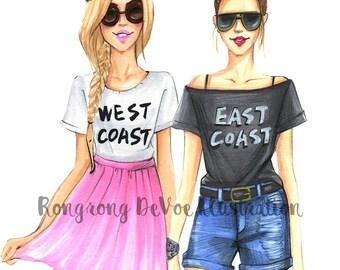 Best friends gift, Fashion Illustration, Fashion wall art, Best friends art, East coast, West Coast, Fashion print, Fashion Sketch