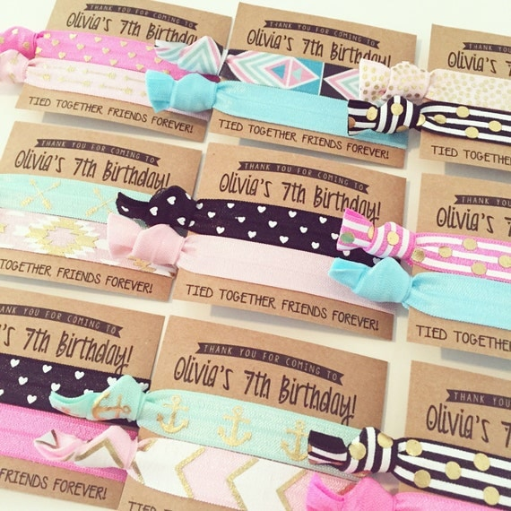 Birthday Party Hair Tie Favors | Custom Birthday Hair Tie Favors, Aqua + Pink Personalized Party Favors, Friends Forever, Girls Kids Party