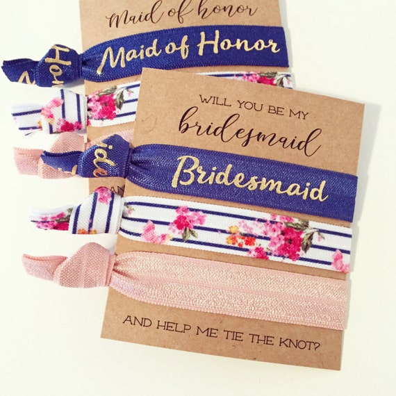 Bridesmaid Proposal Hair Tie Gifts | Navy Blue, Gold + Blush Floral Maid of Honor + Bridal Party Proposal Gift, Bridesmaid Hair Tie Sets