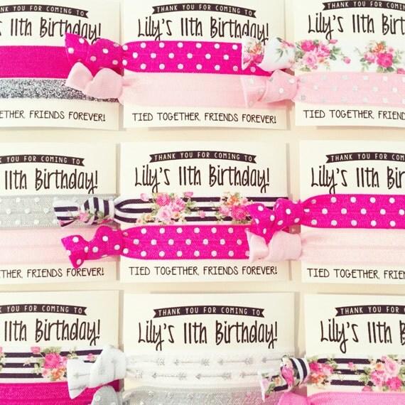 Vintage Floral Birthday Party Hair Tie Favors | Birthday Hair Tie Favor, Hot Pink Black Floral Glitter, Teen Tween Girl Birthday Party Favor